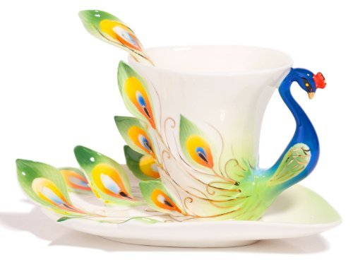 Claybox Hand Crafted Porcelain Enamel Graceful Peacock Tea Coffee Cup Set With Saucer And Spoon, Green Home Supply Maintenance Store