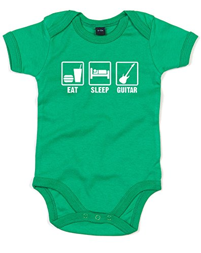 Eat Sleep Guitar, Printed Baby Grow - Kelly Green/White 0-3 Months front-401896