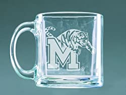 Memphis Tigers Deep Etched Clear Glass Mug