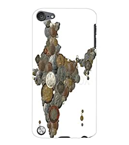 ColourCraft Indian Map made with Coins Design Back Case Cover for APPLE IPOD TOUCH 5