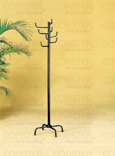 Modern Style Black Finish Metal Eight Hook Coat Hat Rack