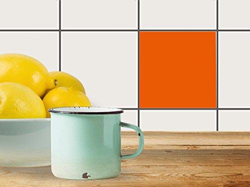 fliesen aufkleber k chenfolie 10x10 cm 1x1 design sticker orange 1 selbstklebende dekoration. Black Bedroom Furniture Sets. Home Design Ideas