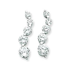Sterling Silver Cz Journey Earrings