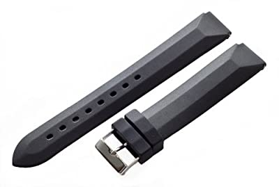 Black Rubber 18mm Watch Band Fits Philip Stein Small Size 1 (with Built in Quick Release Pins) !!!! from Clockwork Synergy, LLC