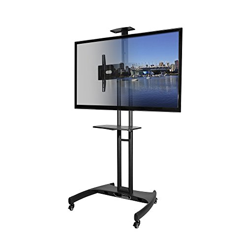 kanto mobile tv stand with adjustable shelf and flat screen mount fits 37 to 65 monitors. Black Bedroom Furniture Sets. Home Design Ideas