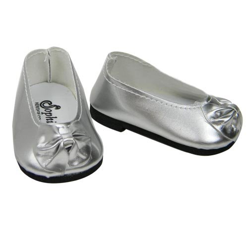 Shiny Metallic Silver Patent Bow Doll Shoe, Fits 18 Inch American Girl Dolls, Metallic Silver Patent Doll Slip On Shoes