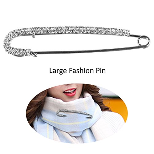 Safety Pin Movement - Rhodium Plated Large Safety Pin Jewelry - Unique Punk Chic Brooch Style Pin - Catch Scarf or Lapel - Candy Cane Shape Silver with Crystals