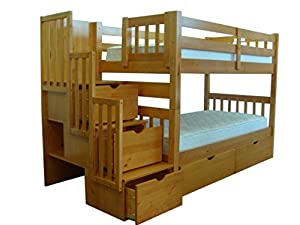 Bedz King Stairway Bunk Twin over Twin Bed with 3 Drawers in the Steps and 2 Under Bed Drawers, Honey