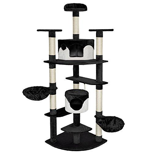 TecTake Tiragraffi per gatti 204 cm sisal albero gatto gioco nero bianco