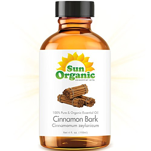 Cinnamon Bark - Large 4 Ounce - Organic, 100% Pure Essential Oil (Best 4 Fl Oz / 118Ml) - Sun Organic