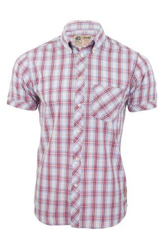 Nickelson -  Camicia Casual  - A quadri - Maniche corte  - Uomo blu Large