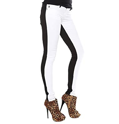 Royal Bones White Front Black Back Skinny Jeans