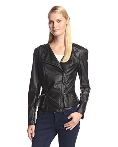 ABS Denim by Allen Schwartz Women's Ruffle Trim Faux Leather Jacket
