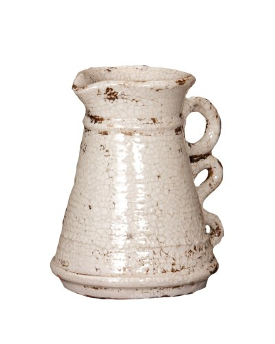 Your Heart's Delight Pitcher Pottery, 8-1/2 by 6-Inch, Crackled White