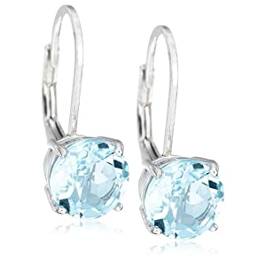 Sterling Silver 8mm Round Blue Topaz Lever Back Earrings