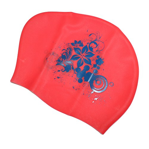 Dianoo extra grande moda confortevole protezioni di nuotata per tutti i tipi di capelli stile - nuoto in silicone protezione dei capelli protezione dell'orecchio avvolgere cappello impermeabile per le donne - (Rosso + giglio)