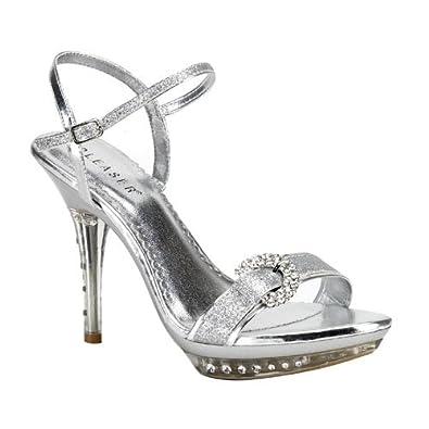 Sexy Rhinestone Sandals Womens High Heel Shoes 4 1/4 Inch Mini Platform Silver Size: 6