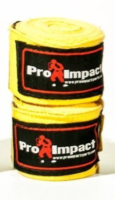 "PRO IMPACT Boxing/MMA Handwraps 180"" Elastic 1 Pair YELLOW"
