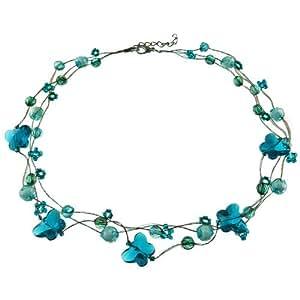 Soyokay - Collier femme Ras De Cou - Papillons translucides - Fils Dorés Perles Bleu Vert et Bleu Ciel
