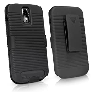 BoxWave Dual+ Holster T-Mobile Samsung Galaxy S II (Samsung SGH-t989) Case - 3-in-1 Case with Holster Combo Includes Protective Case and Belt Clip Holster with Integrated Viewing Stand (Jet Black)