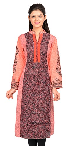 JAIPUR ATTIRE WOMEN COTTON PINK FULL SLEEVE KNEE LENGTH KURTI