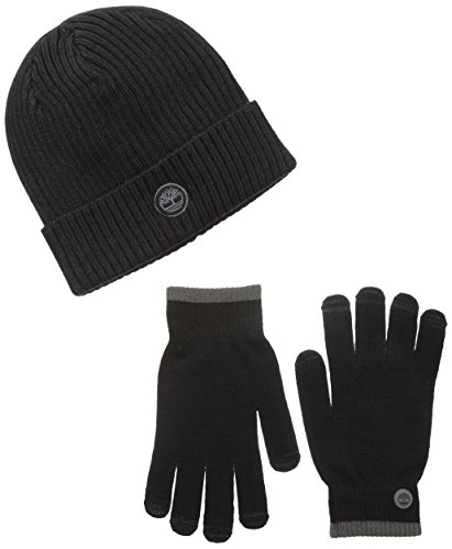 Timberland Men's Fitted Watch Cap and Stretch Glove Gift Set, Black, One Size