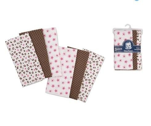 Gerber Flannel Burp Cloths 6-Pack 100% Cotton (Girls) - 1