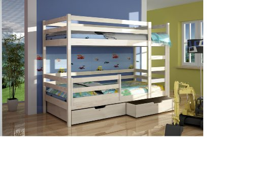 ANNA QUALITY PINE WOOD CHILDREN BUNK BED WITH MATTRESSES AND STORAGE DRAWERS (WHITE)