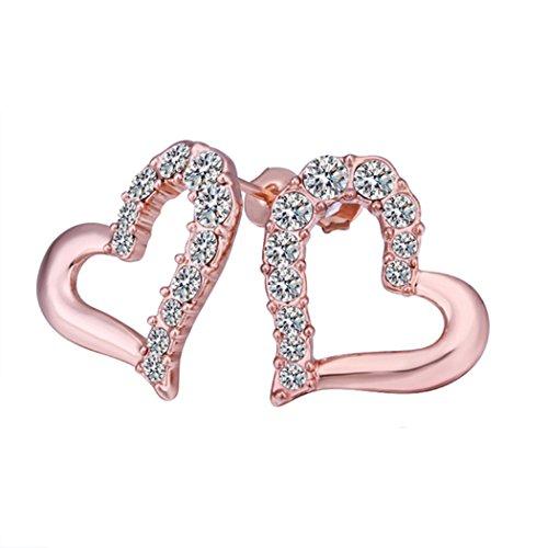 YC Top dolce cuore Lady Orecchini placcati oro rosa 18K, con Zirconia cubica