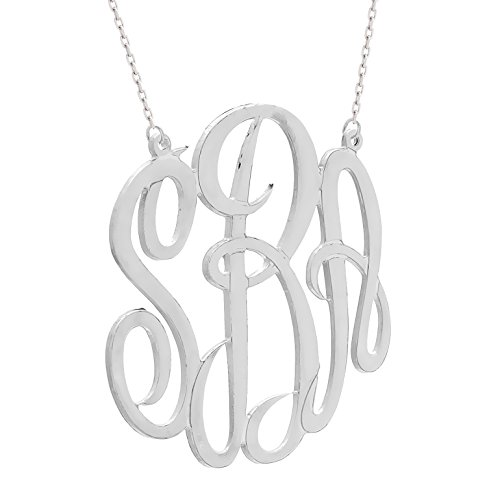 Personalized Sterling Silver 1 1/4 Inch Monogram Necklace (Made in USA)