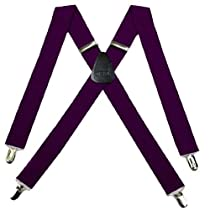 SUS-ADF-43 - Eggplant - Solid Suspender - Made In U.S.A - 1.50 Wide - X-BACK