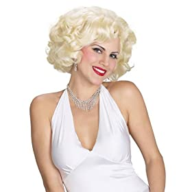 Complete your Marilyn Monroe costume with a blonde wig