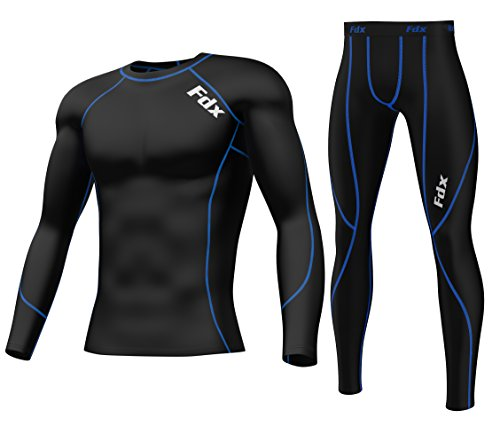 fdx-mens-compression-armour-base-layer-top-skin-fit-shirt-leggings-set-black-blue-medium