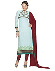 Women's Light Green & Maroon Cotton Straight Fit Semi Stitched Salwar Suit
