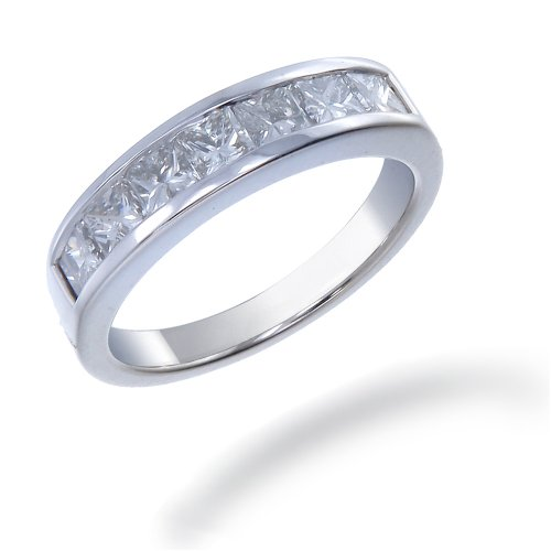 1.50 CT Princess Cut Diamond Wedding Band 14K White Gold (I1-I2 Clarity) (Available In Sizes J - T)
