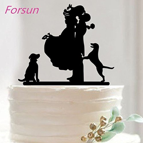 Mr & Mrs Bride and Groom Silhouette Wedding Cake Topper Pick COVERED WITH A PROTECTIVE LAYER WHICH SHOULD BE TORN OFF BEFORE USE(29 optional kinds of styles) by FORSUN