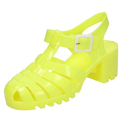 Donna a pois Mid Chunky Heel Jelly Sandali, giallo (Lemon), 40