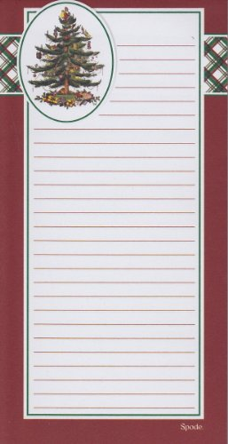 Spode Christmas Tree Red Magnetic Refrigerator Grocery Lister To Do List Note Pad front-399732