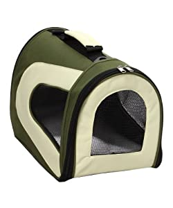 Pet Life Folding Zippered Casual Carrier with Bottle Holder in Green & Khaki - Medium
