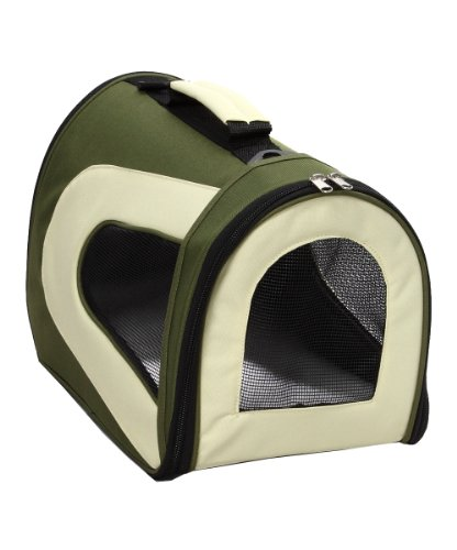 Pet Life Airline Zippered Forest Green/Khaki Folding Sporty Mesh Pet Carrier, Large front-152509