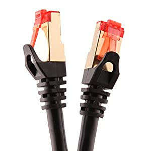 Duronic Black 2m CAT6a FTP Professional Gold Headed Shielded Network Cable - Black - High Speed 500MHz Premium Quality Cat6a / Patch / Ethernet / Modem / Router / LAN