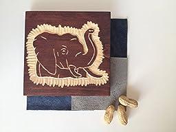 Elephant Wood Tile Carving