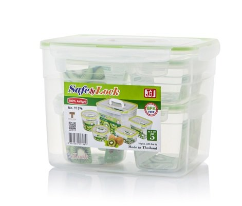 5 Sets of SAFE&LOCK Food Box / Plastic Food Storage Containers -- BPA FREE (Rubbermaid Microwave Plates compare prices)