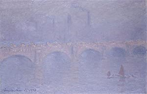 Claude Monet (Waterloo Bridge, Hazy Sunshine, 1903) Hand-Painted Art Reproduction with Oil on Canvas (25.6x39.6 in) (65.1x100.7 cm)