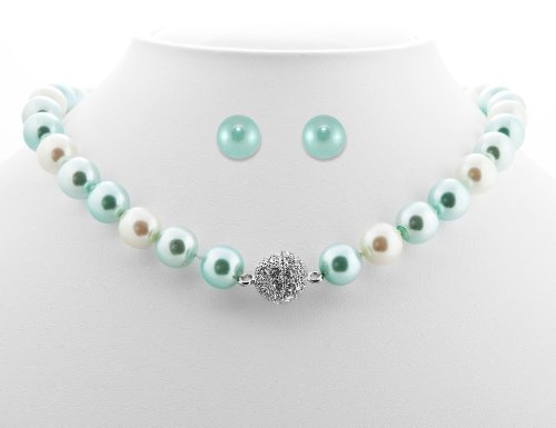 Formal Aqua Blue Color Pearl Necklace & Matching Earring - Blue Bridesmaid Jewelry
