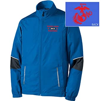 Brooks Marine Corps Marathon Official Race Jacket Mens Skydiver Anthracite Blue