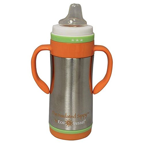 EcoVessel Insulated Stainless Steel Sippy Cup Water Bottle, 10 Ounces, Silver Express