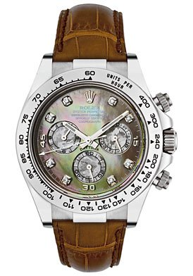 Men's Oyster Perpetual Cosmograph Daytona Brown Alligator and White Gold Case