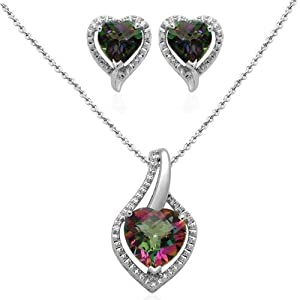 Sterling Silver Heart Mystic Topaz and Diamond Ring Pendant Necklace and Earrings Box Set, Size 7 from Amazon Curated Collection