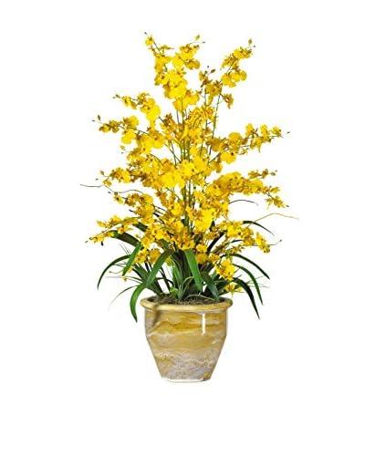 Nearly Natural Triple Dancing Lady Silk Flower Arrangement, Yellow